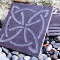 Hand carved celtic slate coaster-round design