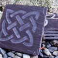 Hand carved celtic slate coaster