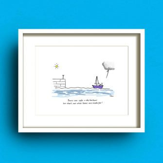 Boats Are Safe Print Fab Cow Design