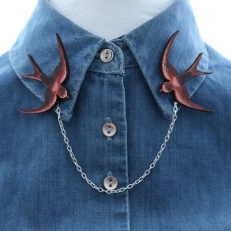 swallow collar brooch