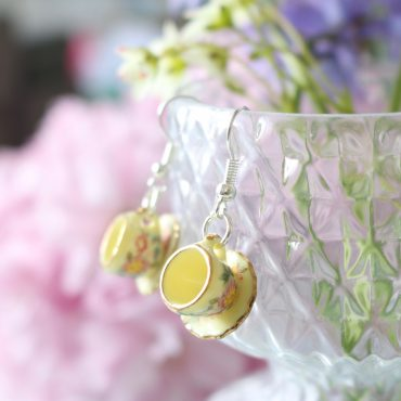 Teacup Drop Earrings-Yellow...