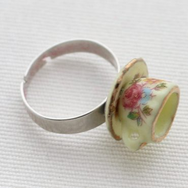 Teacup Ring-Yellow Floral