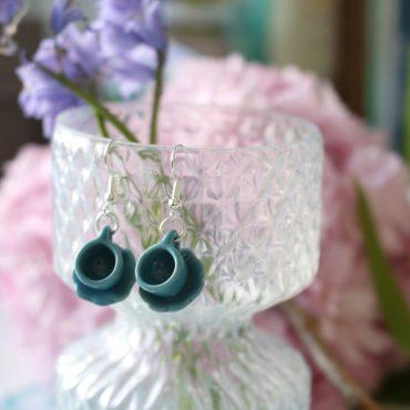 Teacup Drop Earrings-Plain...