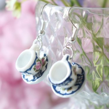 Teacup Drop Earrings-Navy...