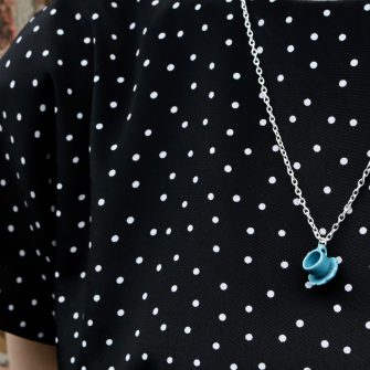 Plain blue teacup Necklace
