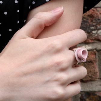 plain pink teacup ring