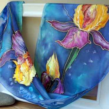 Irises Silk Scarf/Shawl