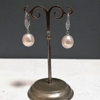 Cream Pearl Earrings, Cubic Zirconia Detail