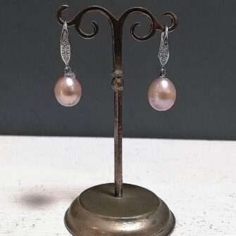 Pink Pearl Earrings, Cubic Zirconia Detail
