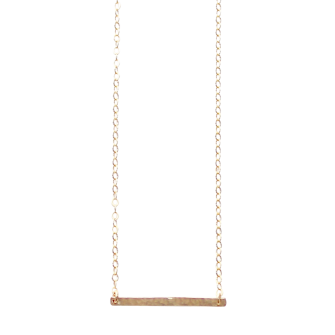 Gold Hammered Bar necklace, A Box for my Treasure