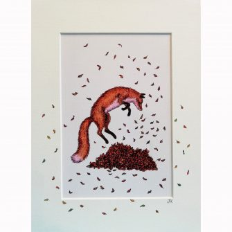 Fox Leaping in Leaves Print by Jenni Kilgallon