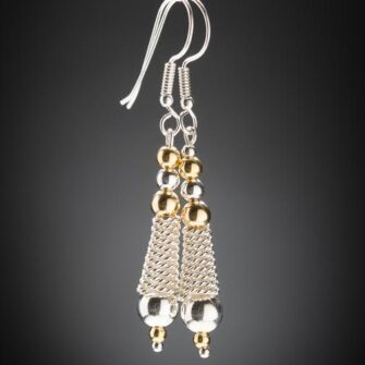 Silver and Gold Rope drop earrings