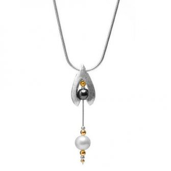 Aura Drop Pendant with Hematite and Pearl Necklace