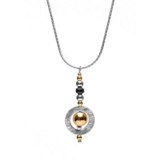 Aura Circle Pendant with Gold Filled Bead Necklace