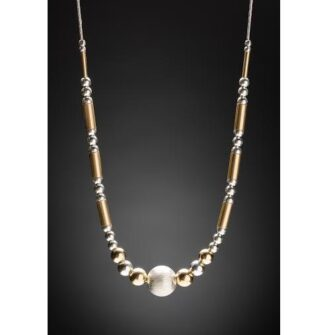 Half Beaded Silver and Gold Necklace
