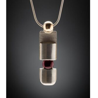 BBar 1 Silverstone Dimensions Garnet Pendant Necklace