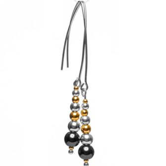 Beaded gold and silver earrings with hematite