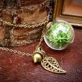 Ruby Robin Green Moss Orb with Acorn Charm