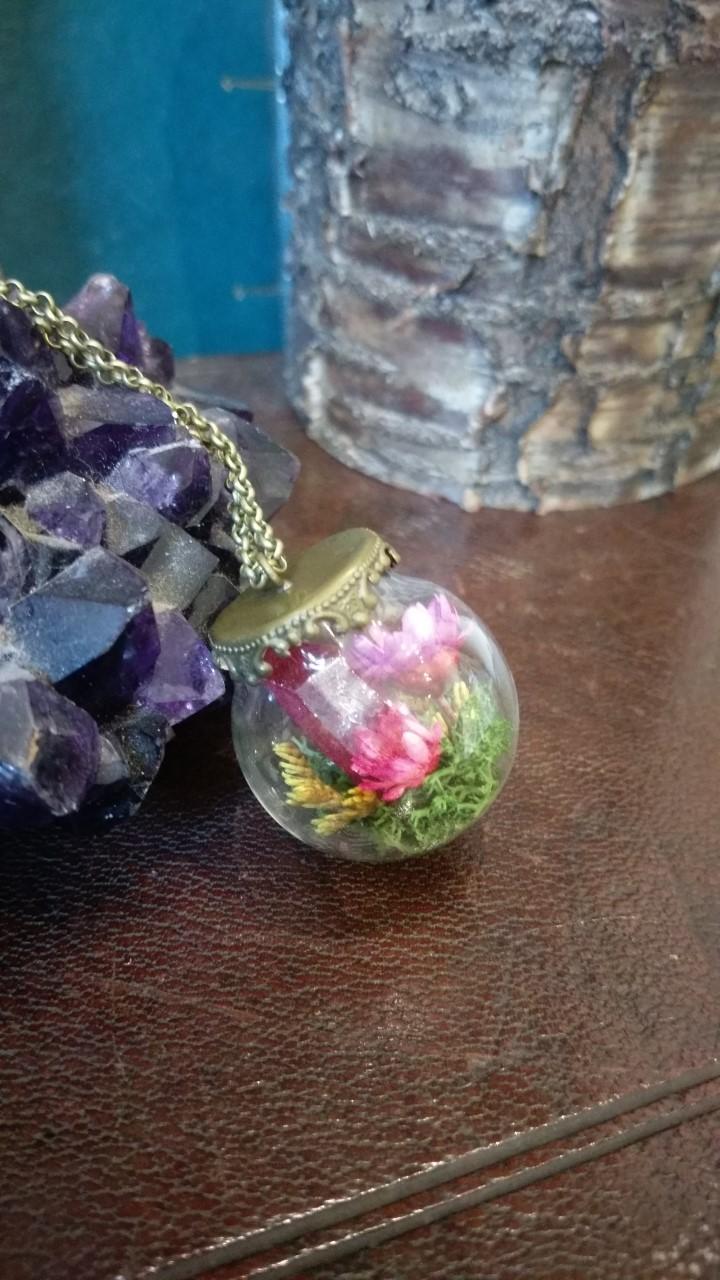 Pink Crystal Terrarium Orb Artist Gift Gallery