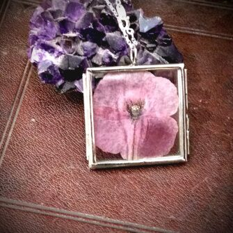 Ruby Robin Silver Square Window Locket Pink Poppy