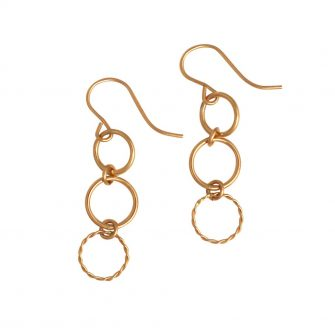 Gold Triple Circle Earrings, A Box For My Treasure