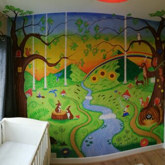 Hand Painted Childs Mural Woodland Animals