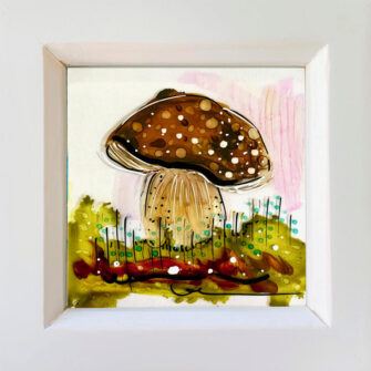 Miniature Glass Painting with Toadstool