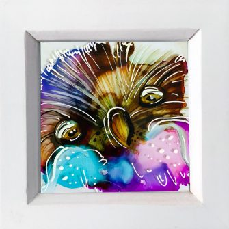 Miniature Glass Painting with Owl