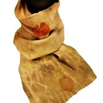 Natural felted leaf scarf