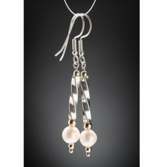 Twisted Silver Tube Drop Earrings with Freshwater Pearls