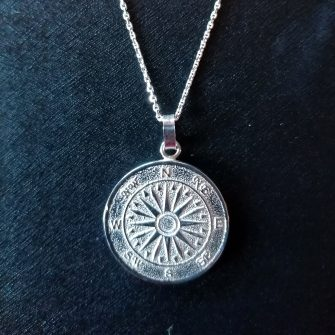 Silver Moon Compass Necklace